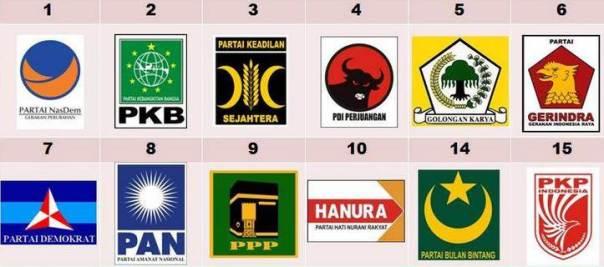 12 Bendera, logo, dan nomor urut partai pemilu 2014